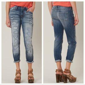KanCan Distressed Patch Boyfriend Cropped Jeans